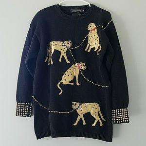 Vintage spree black gold cheetah gold bead sweater